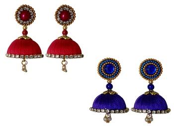 Handmae Silk Thread Red and Navy Blue Dangler Jhumka Earrings combo Set 2