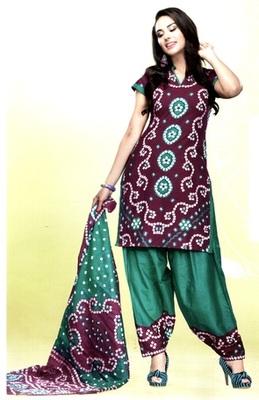 Purple Chunari Print Cotton Unstitched Salwar With Dupatta