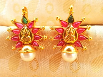 Multi-Color Kemp Laxmi Temple Studs