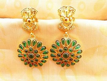 Green Kemp Ganesha Temple Earrings