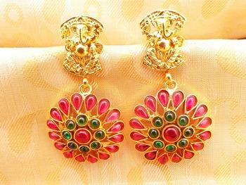 Multi-Color Kemp Ganesha Temple Earrings