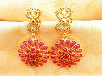 Pink Kemp Ganesha Temple Earrings