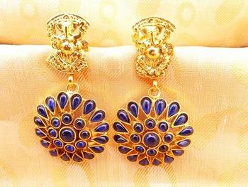 Blue Kemp Ganesha Temple Earrings