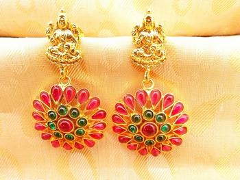 Multi-Color Kemp Laxmi Temple Earrings