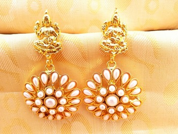 White Kemp Laxmi Temple Earrings