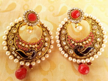 Pink Peacock chandbali Earrings