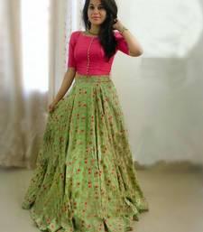 Buy green dupion_silk embroidered lehenga with dupatta ghagra-choli online