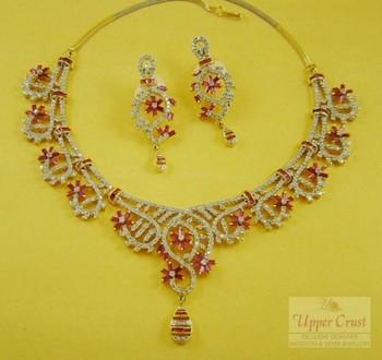 Bridal Ruby Zircone Necklace Earring Jewellery