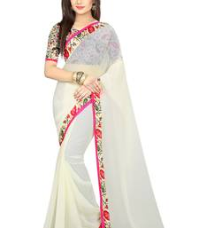 Buy White plain georgette saree with blouse georgette-saree online