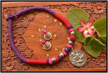 Silver Plated Handmade Thread Work Necklace Set with Matching Jhumka Earrings