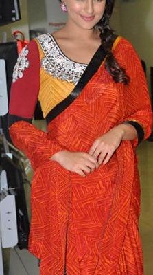 Indian Replica Ethnic Sonakshi Orange Georgette Saree