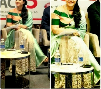 Indian Replica Ethnic Kajol Multi Color Moss And Net Fabric Saree