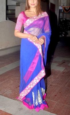 Indian Replica Ethnic Bipasha Blue Net Saree