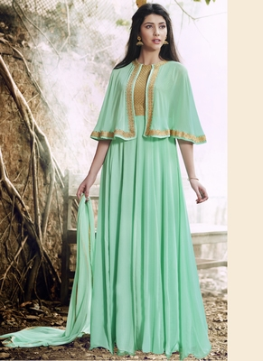 Light green embroidered georgette semi stitched salwar with dupatta