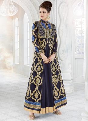 Dark blue embroidered georgette semi stitched salwar with dupatta