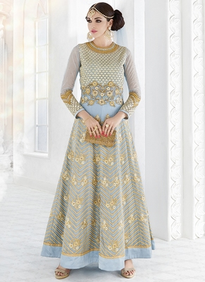 Light Grey Embroidered Georgette Anarkali Suit