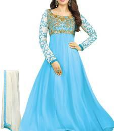 Buy Light blue embroidered georgette semi stitched salwar with dupatta anarkali-salwar-kameez online