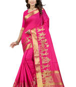 Buy Pink woven poly cotton saree with blouse