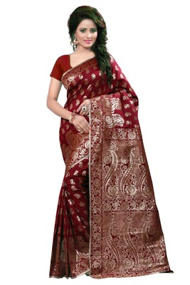 Maroon Woven Tussar Silk Saree With Blouse