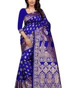 Buy Blue woven banarasi silk saree with blouse