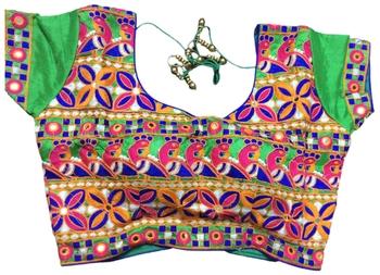 green art silk Kutchwork stitched blouse
