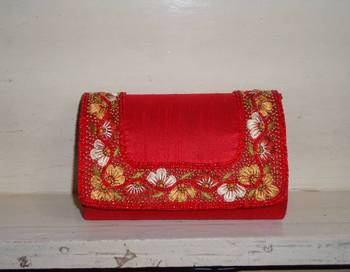 Red Silk & Resham work Clutch