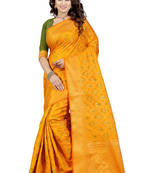 Buy Yellow woven tussar silk saree with blouse