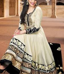 Buy Cream designer embroidered semi stitched anarkali suit semi-stitched-salwar-suit online