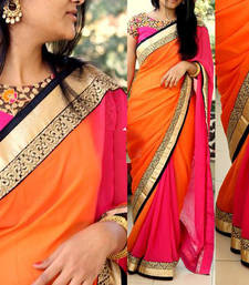 Buy Orange embroidered silk saree with blouse party-wear-saree online
