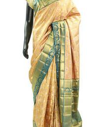Buy Ethinic Gold Kanjivaram Silk Saree With Zari Work In Pallu & Blouse - SR4681 printed-saree online
