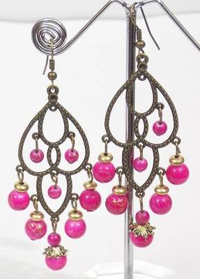Colored Stone Golden Ethnic Earring