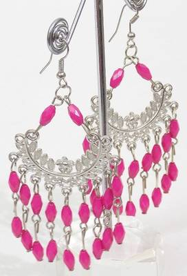 Colored Stone Silver Ethnic Earring