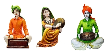 Set of 3 Polyresine Rajasthani Playing Instruments (Lady with Dafli, Men with Harmony  and  Dholak)