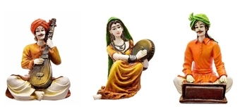 Polyresine Set of 3 Rajasthani Men  and  Women Playing Different Instruments