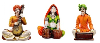 Set of 2 Men  and  1 Lady Playing Different Instruments/Best Gifting Option/Best for Home Decoration