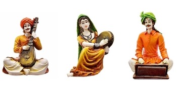Polyresine Rajasthani Set of 3 Showpiece/Best for Home Decor/Gifting Option/Best for Office Decor