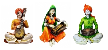 Polyresine Set of Rajasthani Cultures Figurines Playing Instruments/Decor/Gifting Option/Best for Office Decor