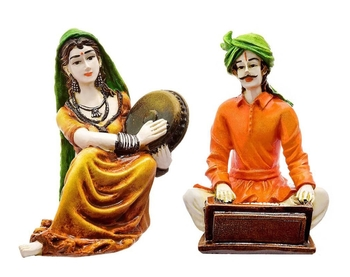 Polyresine Set of 2 Rajasthani Cultures Figurines Playing Instruments/Decor/Gifting Option/Best for Office Decor