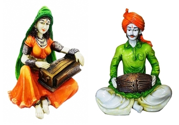 Showpiece Set of 2 Rajasthani Playing Instruments/Decor/Gifting Option/Best for Office Decor
