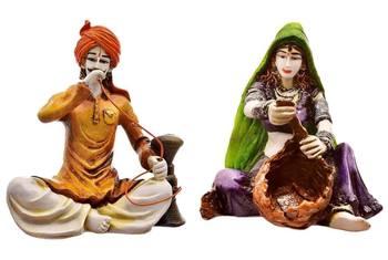 Rajasthani Man with Hukka  and  Lady making Basket