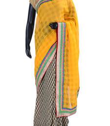 Buy Yellow, black & white combo of handloom cotton silk saree- SR5028 printed-saree online