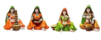 Polyresine Combo of Set of 4 Rajasthani Ladies