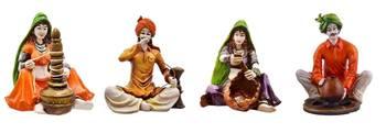 Polyresine Combo of Set of 4 Rajasthani Troupe