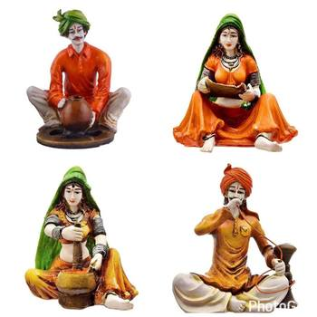 Polyresine Combo of 2 Ladies and Men Rajasthani Showpiece