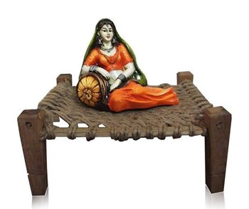 Polyresine Rajasthani Lady Sitting on Cot (Best for Home Decor)