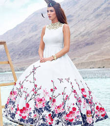 Buy White printed silk semi stitched party wear gowns wedding-season-sale online