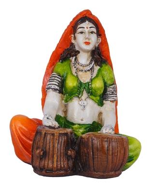 Polyresine Rajasthani Lady Playing Harmonium Showpiece