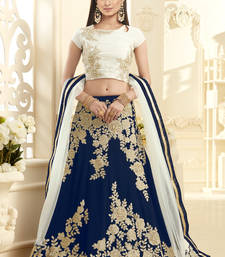 Royal blue hand woven georgette unstitched lehenga