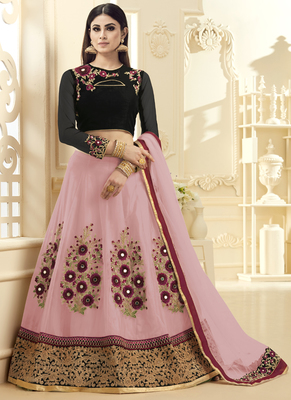 Pink hand woven net unstitched lehenga