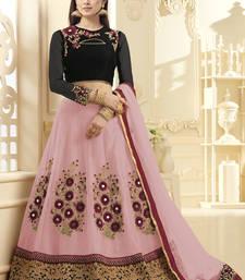 Buy Pink hand woven net unstitched lehenga pakistani-lehenga online